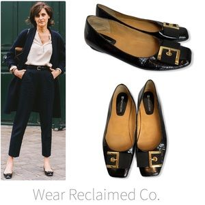 NATURALIZER Black Patent Leather Buckle Flats